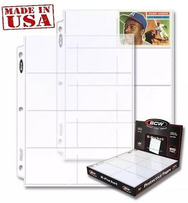 "Box of 100 Pages x 8 pocket Holds eight 2 5/8"" x 4"" cards  (#734)"
