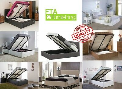 Premium Quality Ottoman Storage Beds Wood Faux Leather Fabric Various Sizes!