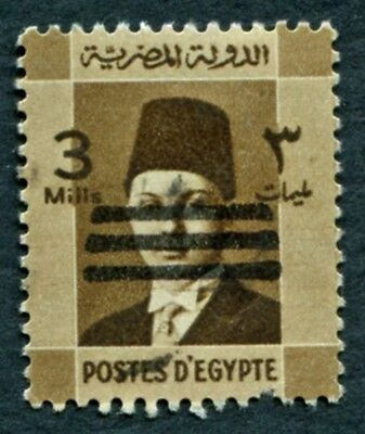 EGYPT 1953 3m sepia SG436 used NG King Farouk Portrait Obliterated #W20