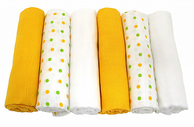 Muslinz Unisex Mix Baby Muslin Squares (Pack of 6, Yellow)