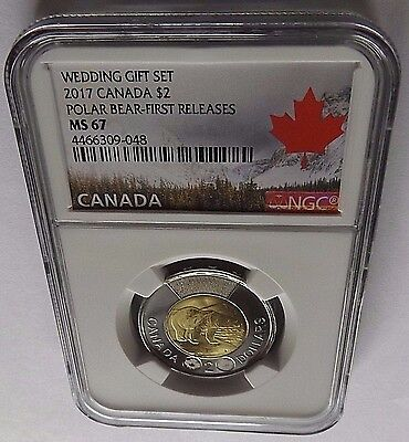 2017 Canada Ngc First Releases Ms67 Wedding Gift Set-Polar Bear $2 Toonie! Rare!