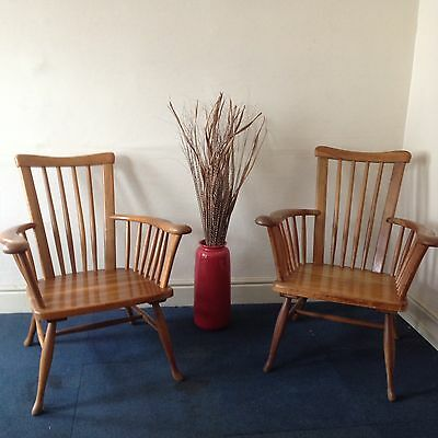 Vintage Retro Mid Century Danish Teak Pair Of Windsor Chairs