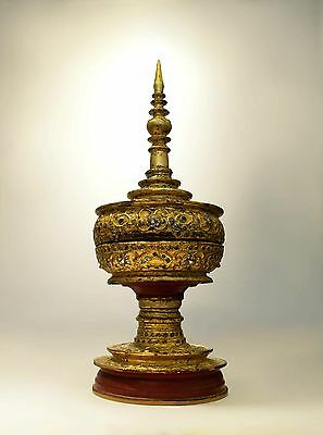 Burmese Offering Container, Red and Gold Lacquer with rich decor