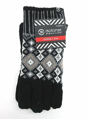 Isotoner Womens Black Knit Gloves NWT