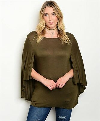WOMEN/'S PLUS SIZE FLIRTY OLIVE GREEN OFF SHOULDER LACE SLEEVE TOP 2XL NEW