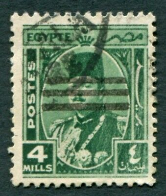 EGYPT 1953 4m green SG441 used NG King Farouk Portrait Obliterated #W20