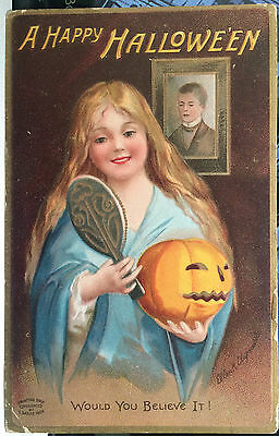 Ellen Clapsaddle HALLOWEEN Post Card '09 SIGNED ARTIST, LONG HAIRED GIRL, MIRROR