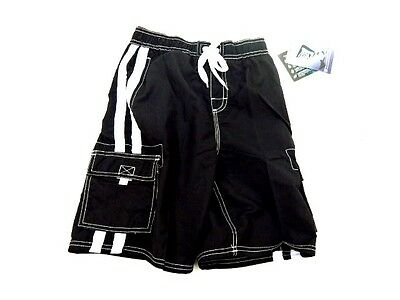 Kanu Surf Boys Size M 10/12 Black Swimsuit With Drawstring Tie NWT