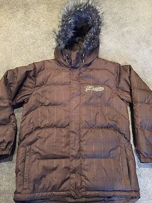 Burton Brown Hooded Down Snowboard Jacket Boys Size X-Large