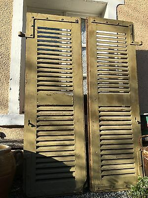 Antique Vintage French Rustic Louvre Window Shutters Salvage Iron Work
