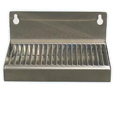 """Beer Drip Tray 6"""" Stainless Steel Wall Mount w/ No Drain"""
