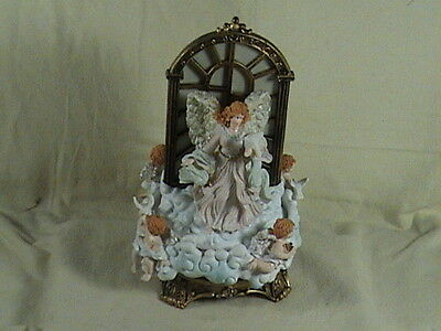 W.M. Musical Lighted Angel & Cherubs Rotating Base Hark The Angel Sings
