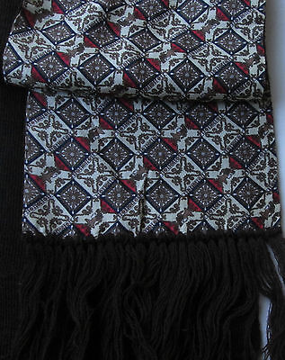 VEAS  Classic Brown with red  motifs  Reversible  silk & Wool  Scarf