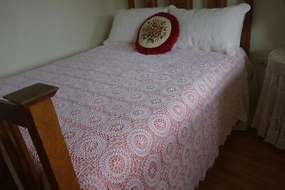 Vintage Snow White Large Crochet Flower Motif Bedspread Bedcover 260x240