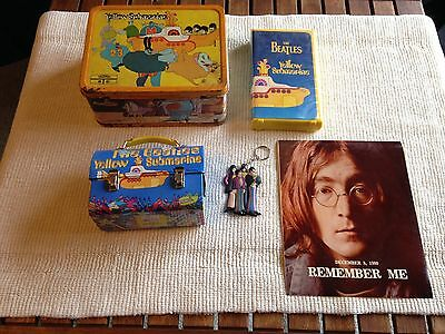 lot of 5 vintage BEATLES items YELLOW SUBMARINE LUNCH BOX VHS KEYCHAIN etc !!