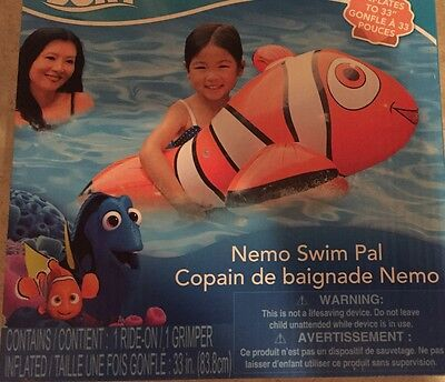 "Finding Dory Inflatable NEMO Swim Pal Ride-on Pool Toy 35"" Float Clown Fish"