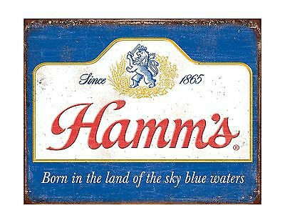 "METAL SIGN 16"" x 13"" Hamm's - Sky Blue Waters Wall TIN SIGN"