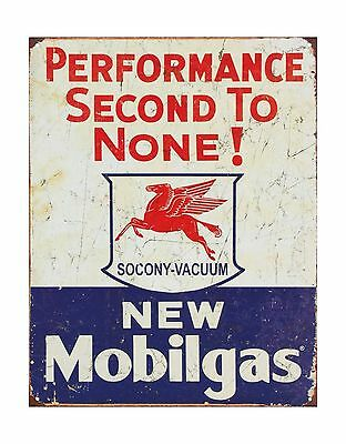 """TIN SIGN 13"""" x 16"""" Mobil Gas Gasoline Performance Second to None METAL SIGN"""