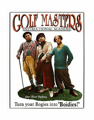 """TIN SIGN 13"""" x 16"""" Three Stooges Golf Masters Home Room Decorative WALL POSTER"""