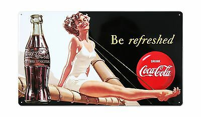 """TIN SIGN 10"""" x 17"""" Drink Coca Cola Coke Be Refreshed Beauty Diner STORE SIGN"""