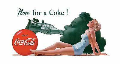 """TIN SIGN 16"""" x 9"""" Coca Cola Now for a Coke Bar Pub Cafe Store DINER SIGN"""