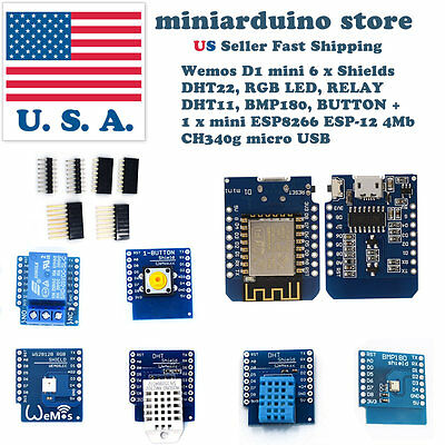 Wemos D1 Mini kit 6 shields + NodeMcu 4M Lua WIFI ESP8266 DHT22 DHT11 BMP180 LED