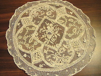 Antique French Normandy Lace Doily Embroidered Whitework Handmade Net Table Mat