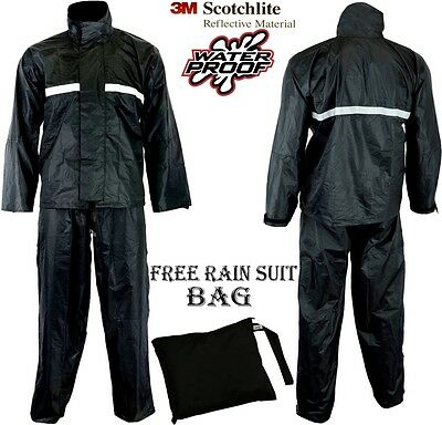 Waterproof Motorcycle Motorbike 2 Piece Reflective Rain Over Jacket Trouser Suit