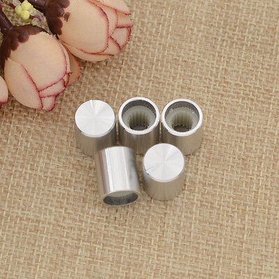 5 Pcs 0.6cm Silver Tone Aluminum Alloy Rotary Potentiometer Knobs Cap Button New
