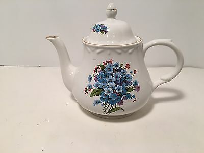 "ARTHUR WOOD & SON TEAPOT - Blue&Purple Violets 6""X 7 1/2"