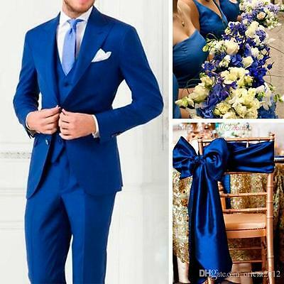Royal Blue Slim Fit Formal Groomsmen Wedding suits Men Groom Suit Tuxedo Custom