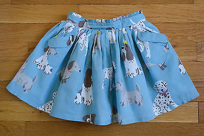 EUC Girls Mini Boden Blue Dog Print Skirt - Size 2-3 Y