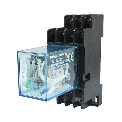 MY4NJ DC 24V Coil Power Relay DIN Rail Mounted 14 Pin 4PDT w Socket WS