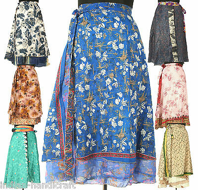 5 Knee Length Vintage Silk Sari Magic wrap skirts dress Wholesale lot India SW1