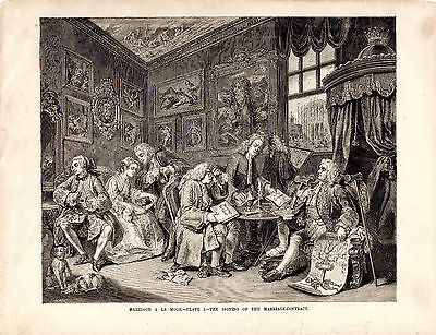 """WILLIAM HOGARTH - """"MARRIAGE A LA MODE"""" - COMPLETE SET OF SIX ENGRAVINGS (c.1870)"""