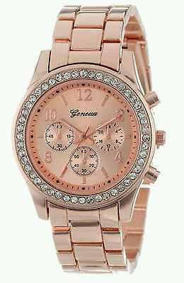 Geneva Crystal Ladies Women Girl Rose Gold Stainless Steel Quartz Wrist Watch