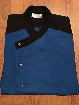Lot of 3 Happy Chef Med Shirt, Uniform, Professional Chef Apparel, Blue Black