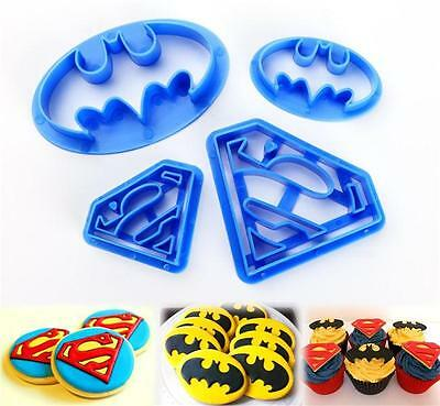 4X SUPERMAN BATMAN HERO LOGO PLASTIC Mould Cake Decorating Fondant Cookie Cutter