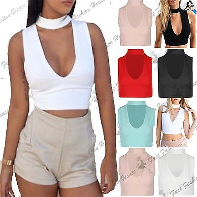 New Womens Sleeveless Crop Top Choker Plunge V Neck Bralet Cami Tank Tops Vest