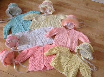 Beautiful Hand Knitted Baby Matinee Jacket & Bonnet - 0-3 Mths - 1 Supplied
