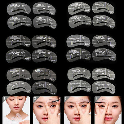 24 Eyebrow Shaping Stencils Kit Brow Makeup Set Grooming Template Reusable