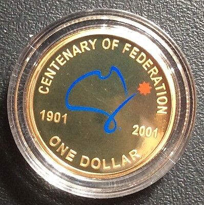 2001 Federation Proof Coloured One Dollar $1 Coin in Capsule Free Post