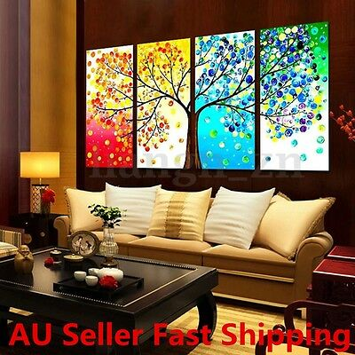 4pcs Unframe Colorful Tree Canvas Painting Print Picture Home Wall Art Decor