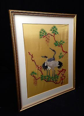 Chinese Silk Embroidery Picture / Crane Birds / Yellow Mustard Background Rare