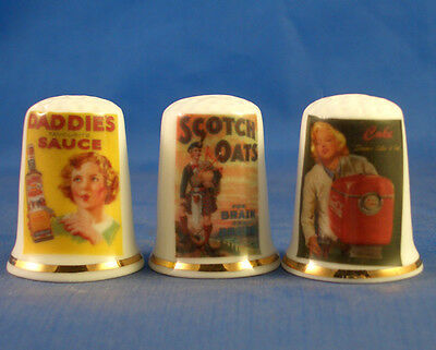 Fine China Thimbles - Set Of Three - Vintage Advertising Posters - Assorted