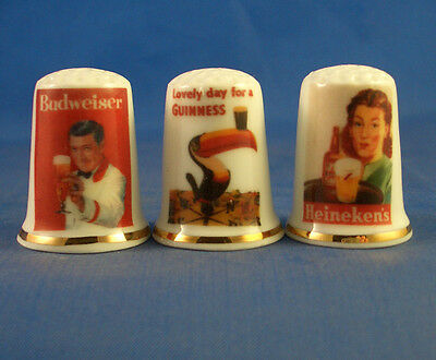 Fine Porcelain China Thimbles - Set Of Three - Vintage Advertising - Beer