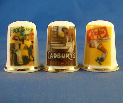 Fine Porcelain China Thimbles - Set Of Three - Vintage Adverts - Chocolate