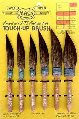 Pinstriping Brushes Mack series 20 SQUIRREL HAIR STRIPES  sizes  1 0 00 000