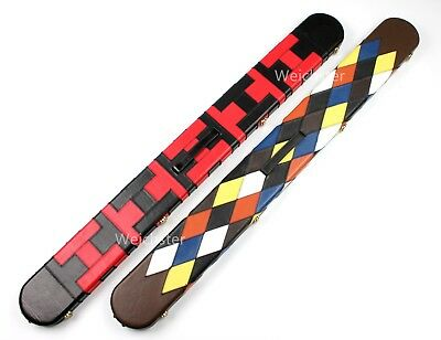 Weichster 3/4 Patch Design Genuine Real Leather Snooker Case Pool Hard Cue Cases