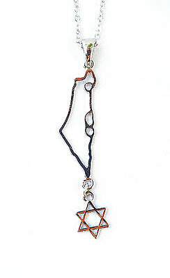 H.quality Necklace&pendant rhodium silver.Jewish Star of David & Map of Israel